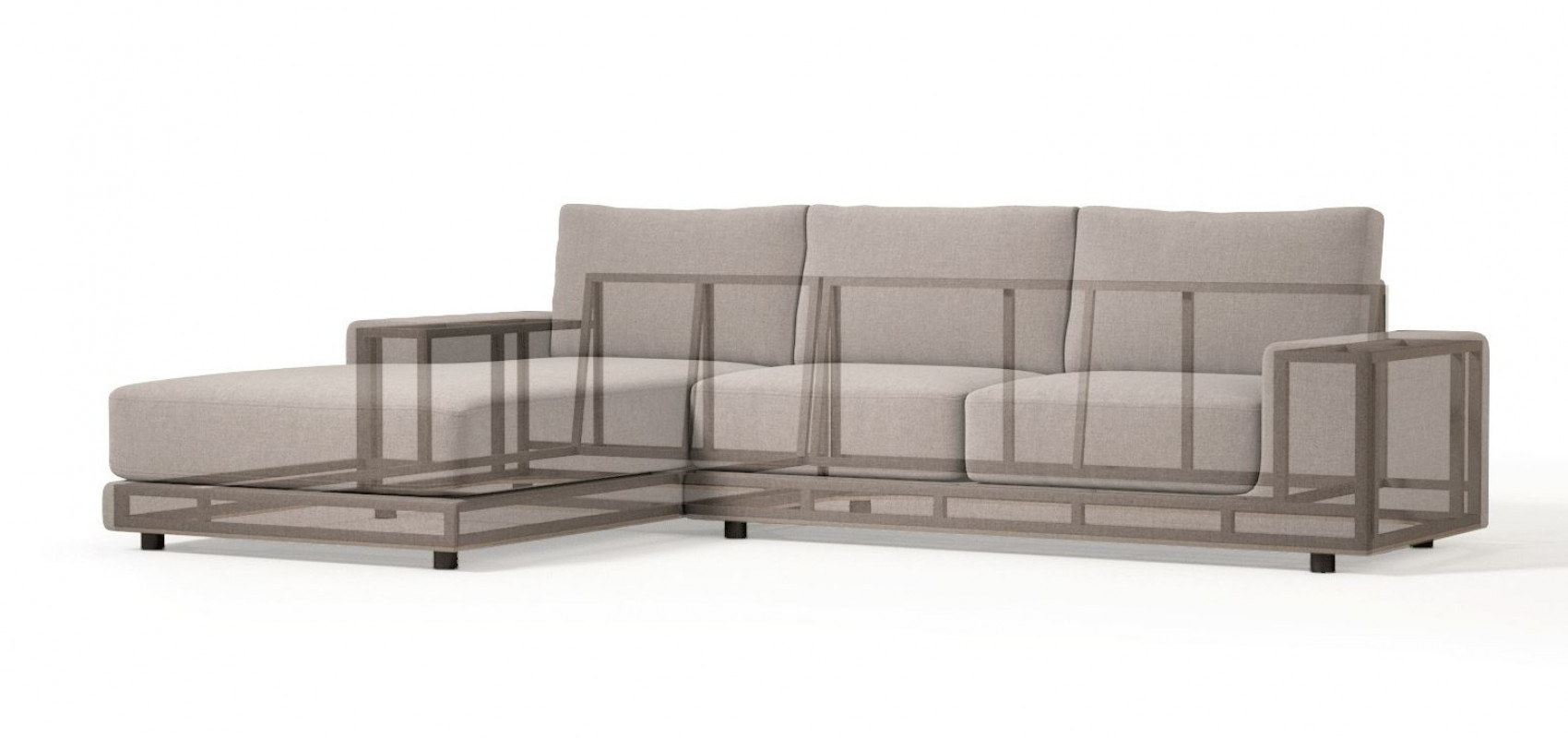 METSOFA Kingston LHF Sectional: Aurora Storm